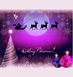 Purple christmas background with santa claus on vector