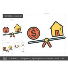 Real estate loan line icon vector