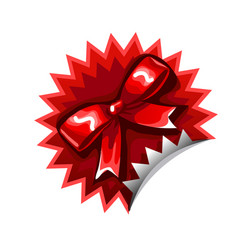 Red sticker with a bowknot isolated on a white vector