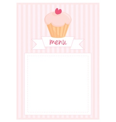Restaurant menu pink strips retro card vector image