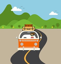 Retro van travel concept flat design vector