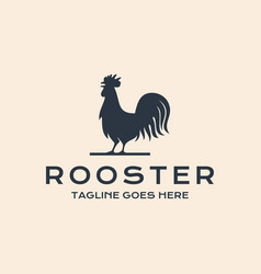 Rooster chicken hen silhouette vintage retro vector