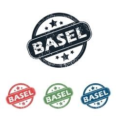 Round Basel city stamp set vector