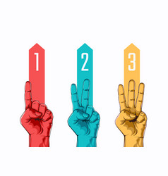 set counting one two three hand sign vector image