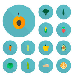 set of icons flat style symbols with cor vector image
