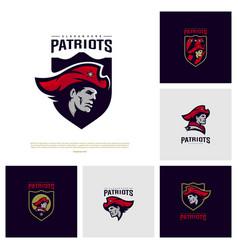 Set of patriots logo design head patriots logo vector