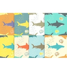 Set of Seamless patterns with sharks vector image
