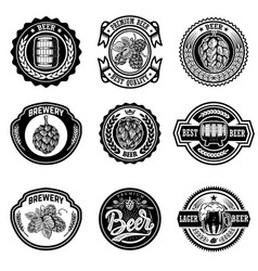 set vintage beer labels design elements vector image