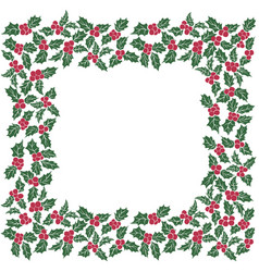 square frame of christmas holly leavesseamless vector image