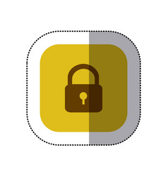 sticker color square with padlock icon vector image