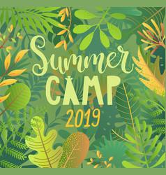 summer camp 2019 lettering on jungle background vector image