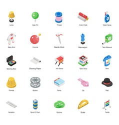 Tailoring and sewing isometric pack vector
