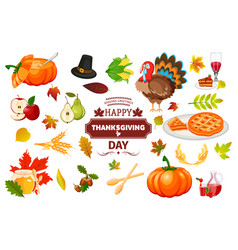 thanksgiving icons autumn pumpkin traditional vector image