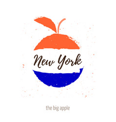 the big apple with inscription new york apple vector image
