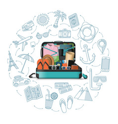 time to travel open suitcase packed for travel vector image