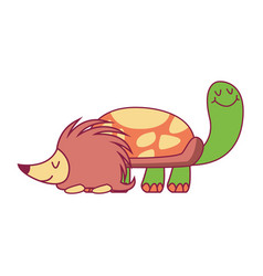 Turtle and porcupine vector
