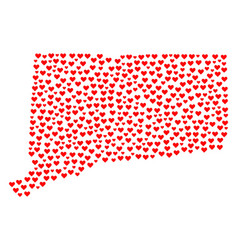 valentine mosaic map of connecticut state vector image