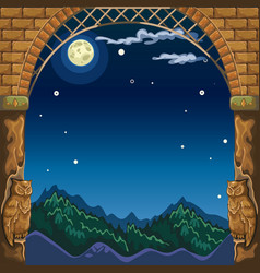 View through the arch of the stone castle at night vector