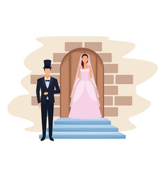 Wedding couple in the door chapel vector