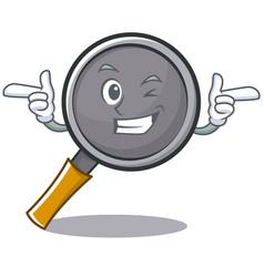 Wink frying pan cartoon character vector