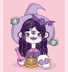 witch girl trick or treat happy halloween vector image