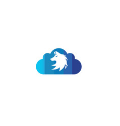 wolf head logo fox face design in a cloud shape vector image
