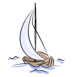 wooden boat sailing on white background vector image