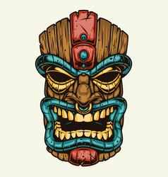 Wooden hawaiian tribal tiki mask vector