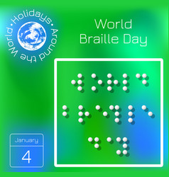 world braille day name of the holiday stylized vector image