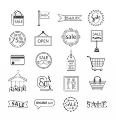 black line sale and shopping icons set on white vector image