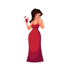 Cute curvy overweight girl in red evening dress vector
