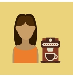 Girl paper cup coffee straw icon graphic vector
