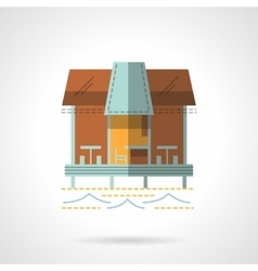 Jetty with cafe flat icon vector image