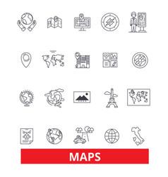 maps globe compass scheme blueprint atlas vector image