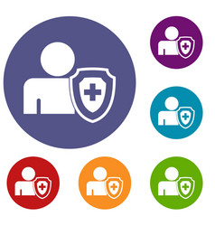 person and medical cross protection shield icons vector image vector image