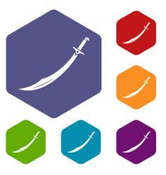 Scimitar sword icons set hexagon vector