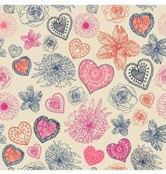 Vintage Floral Hearts Pattern vector image vector image