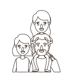 sketch contour caricature half body big family vector image