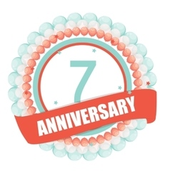 Cute Template 7 Years Anniversary with Balloons vector image