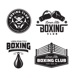 boxing club labels set vintage vector image vector image