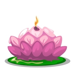 Pink candle in shape of a Lotus flower vector image