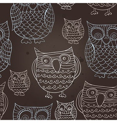 seamless pattern with doodle owls - vector image