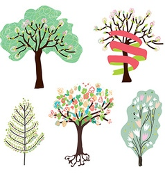 Set of spring blossom trees vector image vector image