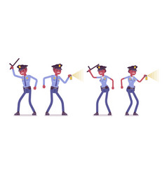 young black police officers at attack and defence vector image vector image