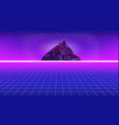 80s style poster with polygon mountain perspectiv vector image