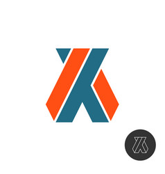 a and x capital letters logo cornered ax or xa vector image