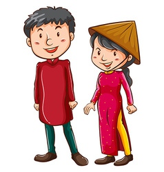 A girl and a boy wearing the Asian costumes vector