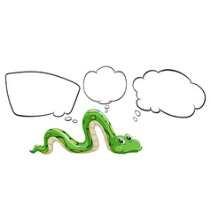 A green snake with the empty bubble notes vector image