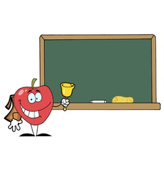 Apple Ringing A Bell In Front A School Chalk Board vector image