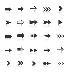 Arrow icons with reflect on white background vector image